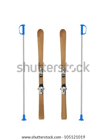 Pair of old wooden alpine skis isolated - stock photo