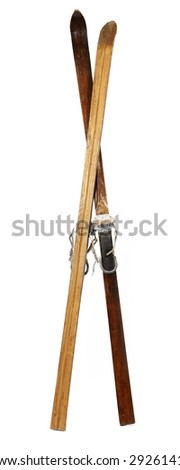 Pair of old wooden alpine skis isolated on white - stock photo