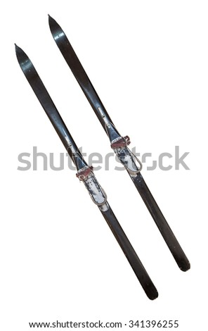 Pair of old wooden skis, isolated on white background - stock photo