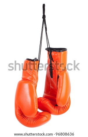 Pair of orange boxing gloves on a white background - stock photo