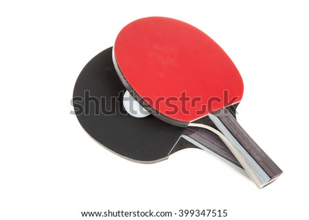 Pair of ping-pong rackets and white ball, isolated on white background - stock photo