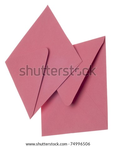 Pair of Pink Invitation Envelopes Isolated on White with a Clipping Path. - stock photo