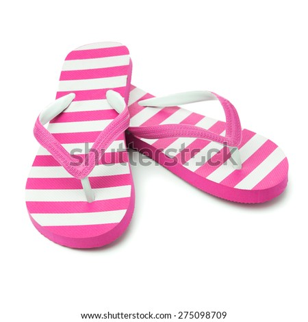 Pair of pink striped sandal on white background - stock photo