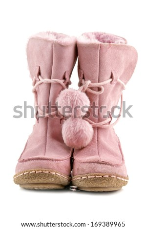 pair of pink winter shoe is isolated on white