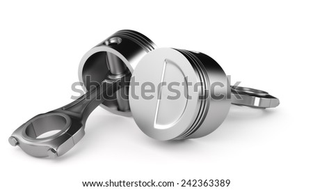 Pair of pistons isolated on a white background. - stock photo