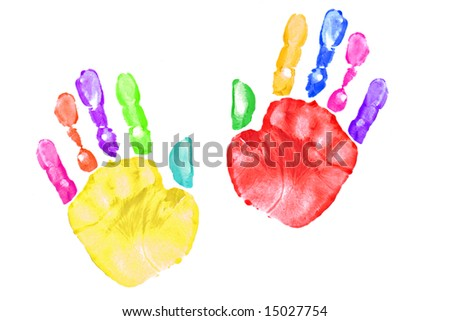 Pair of Preschooler Handprints After Painting With Them - stock photo