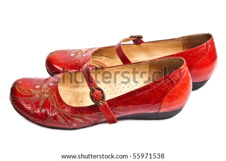 pair of red embroided women shoes (low-heeled)  isolated on white
