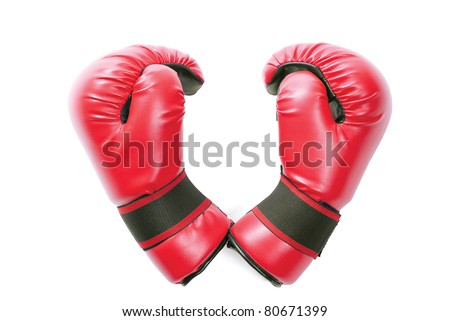 Pair of red gloves in shape of heart isolated over pure white background