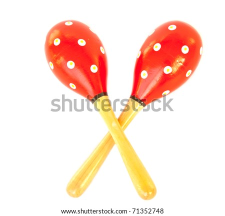 Pair of red maracas made of wood on white isolated. - stock photo