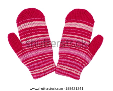 pair of red striped mittens. Isolate on white. - stock photo