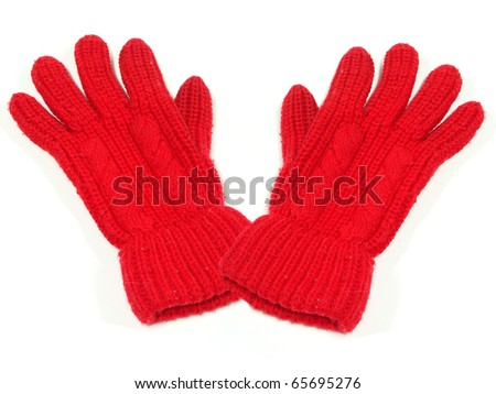 Pair of red woolen winter gloves - stock photo