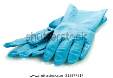 Pair of rubber gloves isolated on white - stock photo
