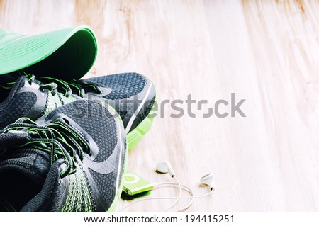 Pair of running shoes. Sport concept - stock photo