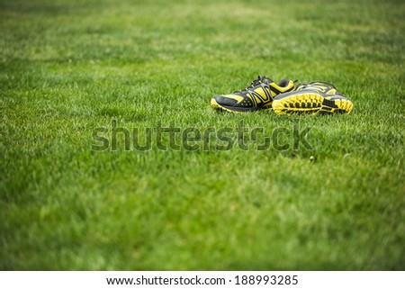 Pair of running trainers on green grass - stock photo