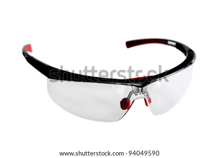 Pair of safety glasses isolated on white - stock photo