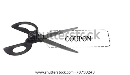 pair of scissors on top of a white generic coupon - stock photo