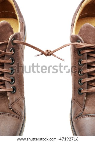 Pair of shoes bound together. Element of design. - stock photo