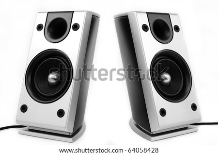 Pair of silver pc speakers isolated over white background - stock photo