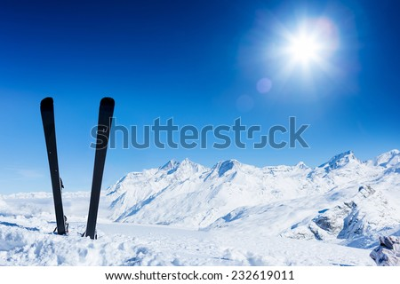 Pair of ski in snow. Winter vacations - stock photo