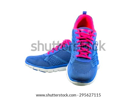 Pair of sky blue sport shoes on white background