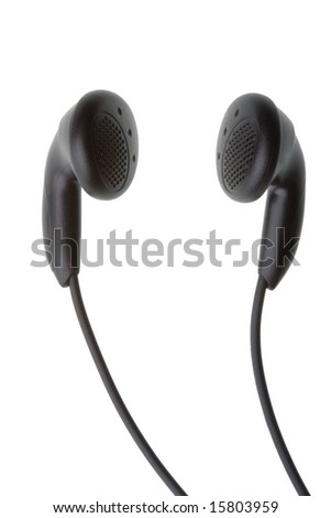 Pair of small black headphones isolated against white background - stock photo
