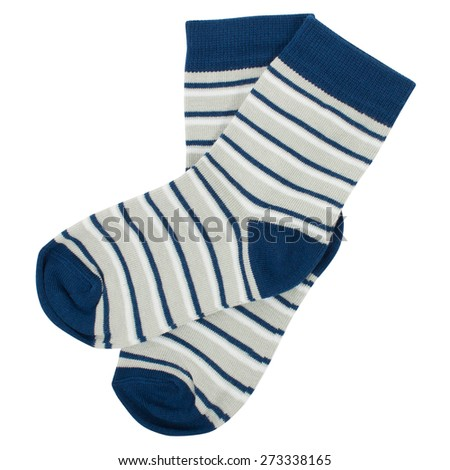 Pair of socks. Isolated on a white background. Clipping paths included. - stock photo