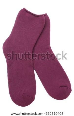 Pair of socks isolated on white background - stock photo