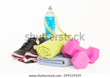 Pair of sport shoes and fitness accessories. White background.  - stock photo