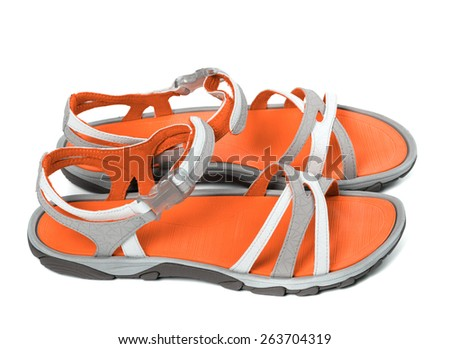 Pair of summer sandals. Isolated on white background. Side view.  - stock photo