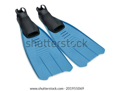 Pair of swim fins - or flippers - isolated on a white background. - stock photo