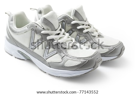 Pair of trainer isolated in white background. - stock photo