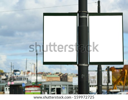 Pair of two empty street billboards - stock photo