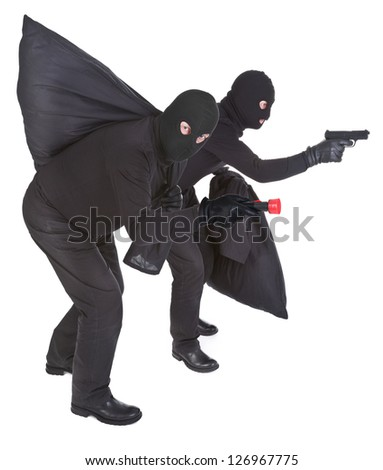 pair of two robbers on white background - stock photo