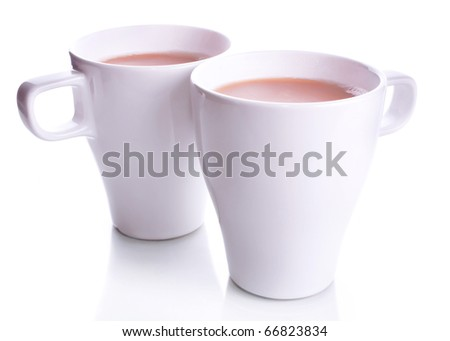 Pair of two white office cups of coffee with milk isolated on a white background - stock photo