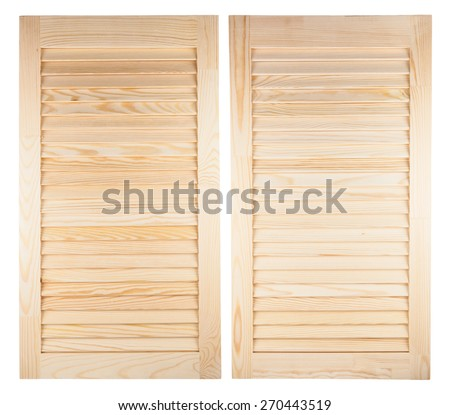 Pair of unpainted wooden shutters isolated on white background