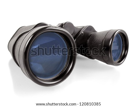 Pair of vintage black binoculars on a white background - stock photo