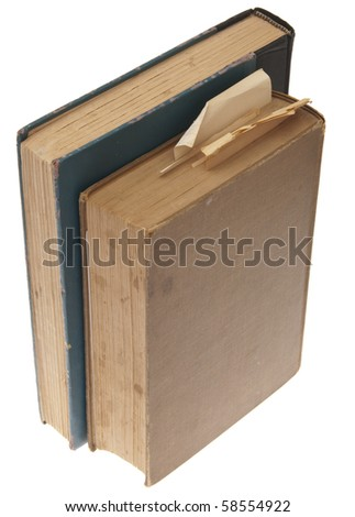 Pair of Vintage Books Isolated on White with a Clipping Path. - stock photo