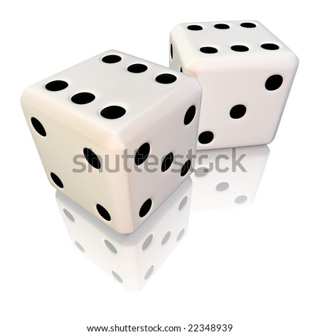 Pair of white dice on a reflective surface
