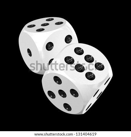 Pair of white gaming dices isolated on black, 3d render (contains clipping path) - stock photo