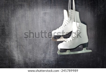 Pair of White Ice Skates. - stock photo