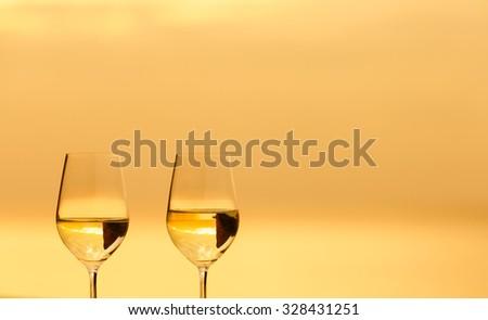 Pair of wine glasses. - stock photo