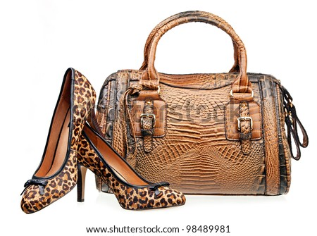 Pair of women shoes and handbag isolated over white - stock photo