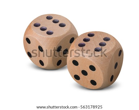 Pair of wooden dice on white background