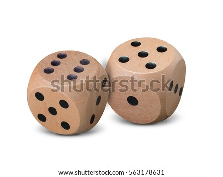 Pair of wooden dice on white baground