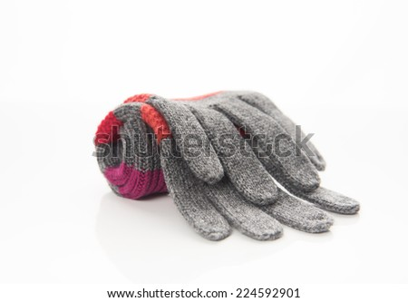 Pair of Wool Striped Gloves on White Background