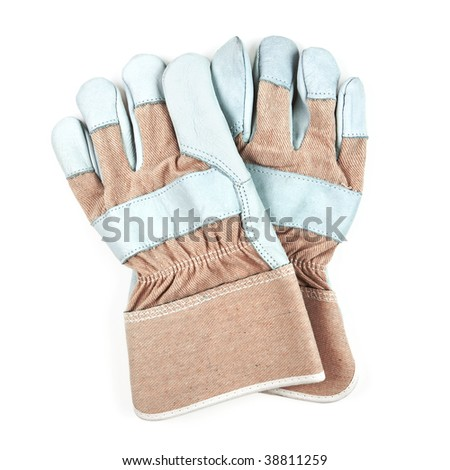 Pair of work gloves isolated on white background - stock photo