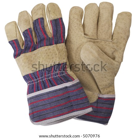 Pair of Working Gloves - isolated on white - stock photo