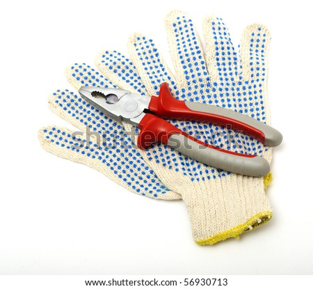 pair of working gloves isolated on white background - stock photo