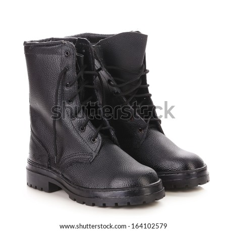Pair of working kersey boots. Isolated on white background.