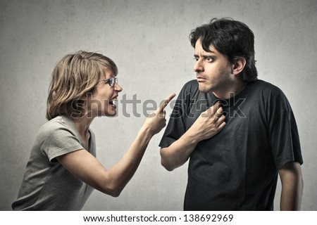 pair of young lovers who quarrel - stock photo